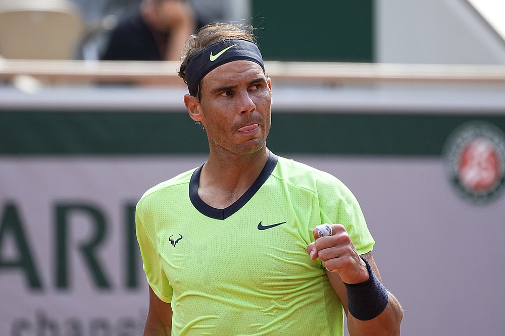 Rafael Nadal took a 6-3, 4-6, 6-4, 6-0 victory over 10th-seeded Diego Schwartzman to earn a spot in the French Open semifinals. (AP/Michael Euler)