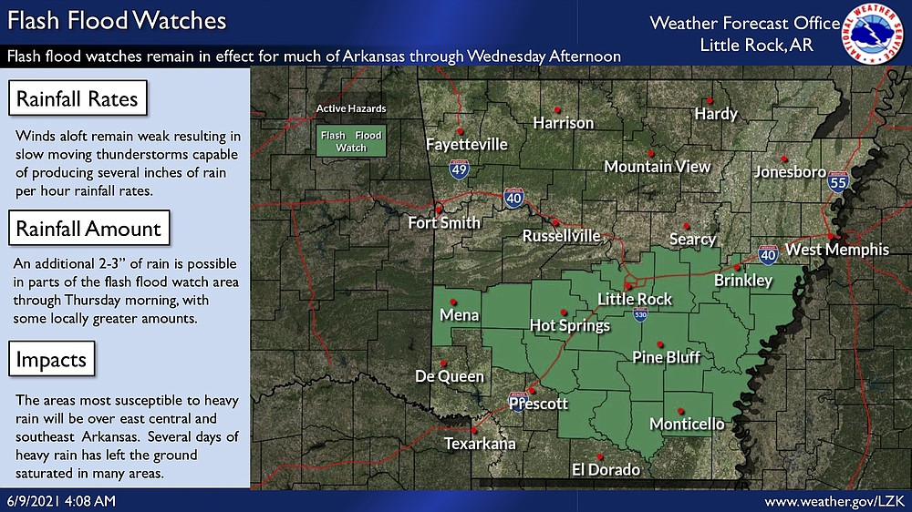 This National Weather Service graphic shows portions of Arkansas are under a flash flood watch through Wednesday afternoon.