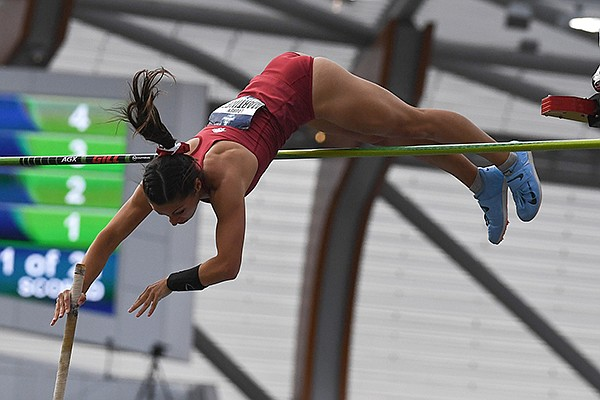 Arkansas pole vaulter Lauren Martinez competes during the NCAA Outdoor Track and Field Championships on Thursday, June 10, 2021, in Eugene, Ore.
