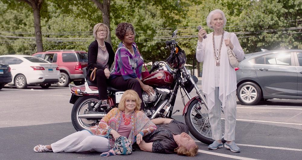 """Rowdy girl crew: Clockwise from left: Janet (Jane Curtin), Sally (Loretta Devine), Helen (Ellen Burstyn) and Margot (Ann-Margret) overwhelm a biker played by Courtney Gains in """"Queen Bees."""""""