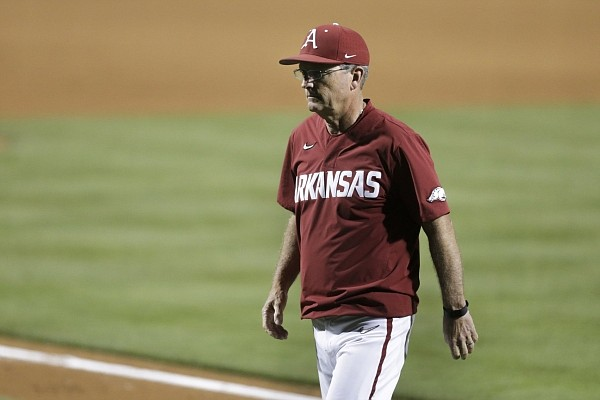 Arkansas head coach Dave Van Horn returns to the dugout, Saturday, June 5, 2021 during the sixth inning in the second game of the NCAA Fayetteville Regional at Baum-Walker Stadium in Fayetteville. Check out nwaonline.com/210606Daily/ for the photo gallery.
