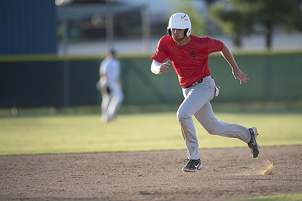 Former Springdale Har-Ber High School and University of Arkansas pitcher Blake Adams plays Tuesday, June 15, 2021, at the Tyson Recreational Complex in Springdale.