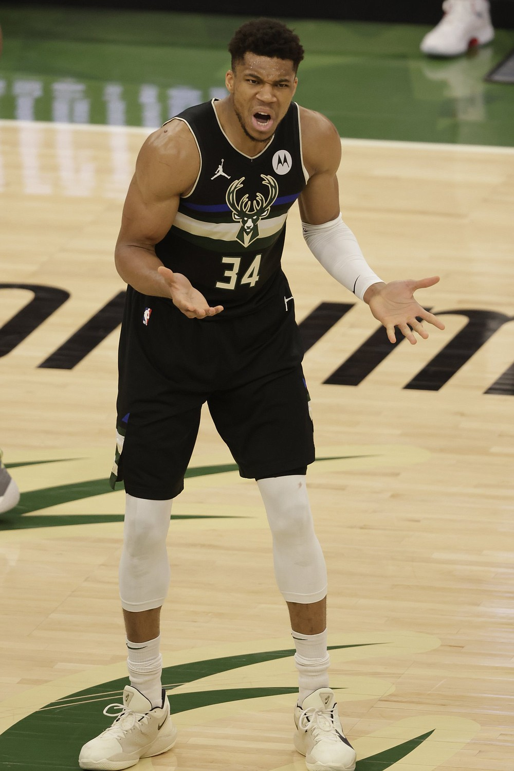 Giannis Antetokounmpo (shown) and the Milwaukee Bucks defeated the Brooklyn Nets 104-89 on Thursday night to force a Game 7 in their NBA Eastern Conference semifinal series. Khris Middleton had 38 points and 10 rebounds, while Antetokounmpo finished with 30 points and 17 rebounds to lead the Bucks.  (AP/Jeffrey Phelps)