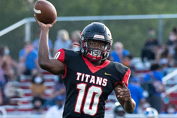 Jacksonville running back Deorius Cobbs (10) throws the ball downfield during a game against Sylvan Hills on Friday, Sept. 11, 2020, in Jacksonville.
