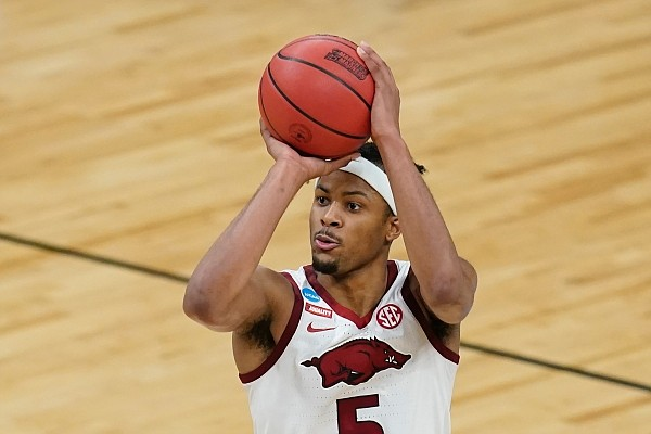 Arkansas guard Moses Moody shoots during the second half of a Sweet 16 game against Oral Roberts in the NCAA men's college basketball tournament at Banker's Life Fieldhouse, Saturday, March 27, 2021, in Indianapolis. (AP Photo/Darron Cummings)