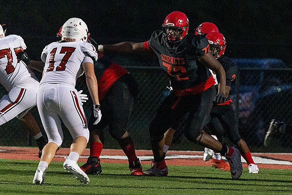 Maumelle's Andrew Chamblee (72) blocks during a game against Vilonia on Friday, Sept. 11, 2020, in Maumelle. (Photo by Jonathan Chamblee/A Thousand Words Photography)