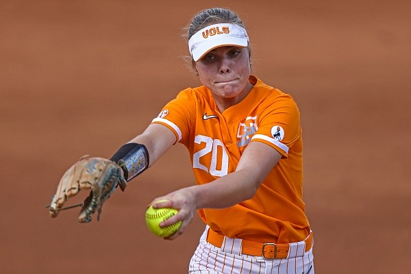 Tennessee's Callie Turner throws to a batter during a game against Kennesaw State on Wednesday, March 24, 2021, in Knoxville, Tenn. (AP Photo/Wade Payne)