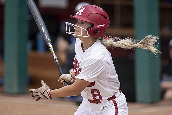 Alabama outfielder KB Sides (8) during an NCAA softball game on Friday, May 28, 2021, in Tuscaloosa, Ala. (AP Photo/Vasha Hunt)