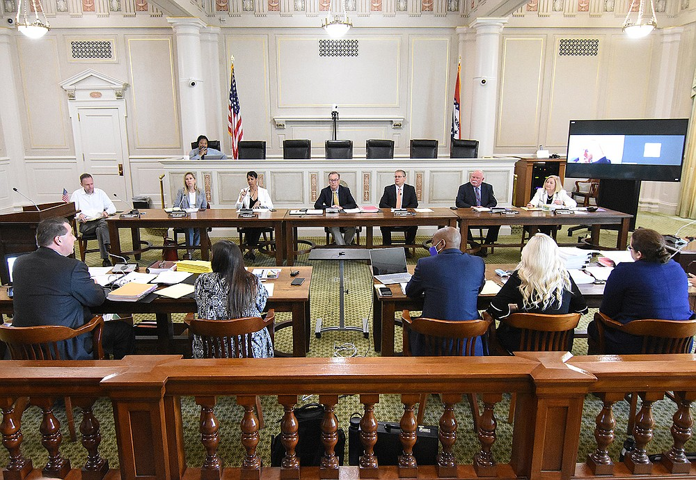 The state Board of Election Commissioners hears issues regarding Pulaski County on Wednesday at the state Capitol. (Arkansas Democrat-Gazette/Staci Vandagriff)