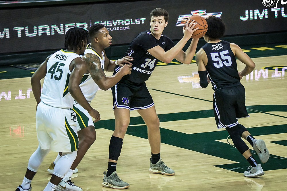 """Central Arkansas forward Jaxson Baker (34) is one of the UCA athletes expected to sign an agreement with the Conway Convention and Visitors Bureau. """"We're all kind of excited for whatever options are down the road for us,"""" he said. (Photo courtesy of the University of Central Arkansas)"""