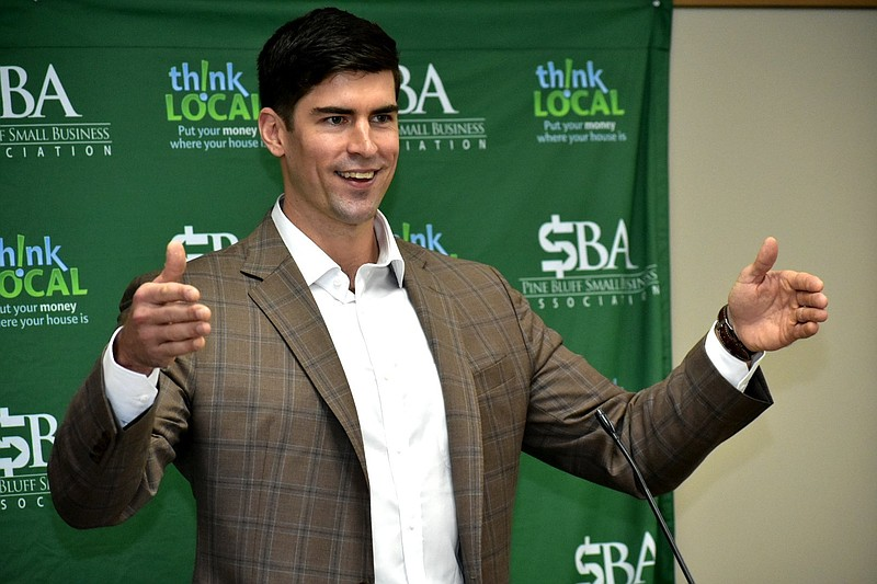 Jake Bequette, founder of The Arkansas Fund, speaks to the Pine Bluff Small Business Association on Wednesday, March 17, 2021. (Pine Bluff Commercial/I.C. Murrell)