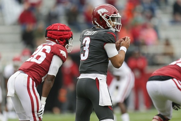 Arkansas quarterback Lucas Coley (3) prepares for the snap on Saturday, April 17, 2021 during the third quarter of the Red-White spring football game at Razorback Stadium in Fayetteville.