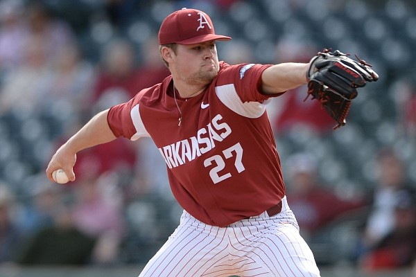 Arkansas starter Blake Adams delivers to the plate Tuesday, March 3, 2020, against Illinois State during the first inning of the Razorbacks' 8-7 loss at Baum-Walker Stadium in Fayetteville.