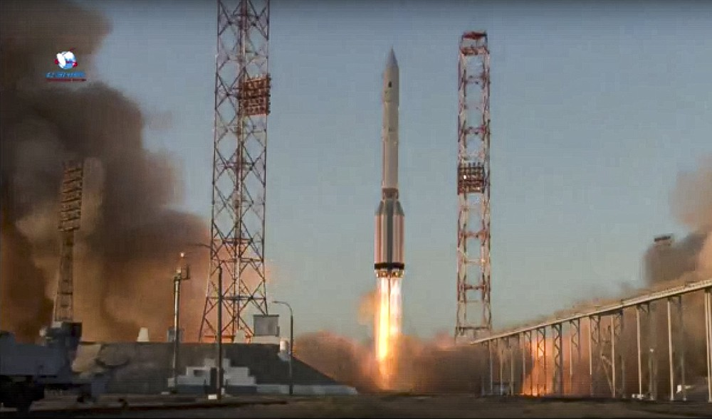 A Proton-M booster rocket carrying the Nauka module blasts off Wednesday from Russia's space facility in Baikonur, Kazakhstan. (AP/Roscosmos Space Agency Press Service)