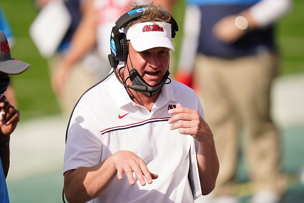Mississippi head coach Lane Kiffin during the first half of the Outback Bowl NCAA college football game against Indiana Saturday, Jan. 2, 2021, in Tampa, Fla. (AP Photo/Chris O'Meara)