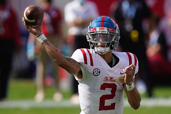 Mississippi quarterback Matt Corral during the first half of the Outback Bowl NCAA college football game against Indiana Saturday, Jan. 2, 2021, in Tampa, Fla. (AP Photo/Chris O'Meara)
