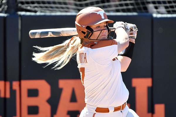 Texas batter Taylor Ellsworth (17) against Oklahoma State during an NCAA softball game on Saturday, May 29, 2021, in Stillwater, Okla. (AP Photo/Michael Woods)