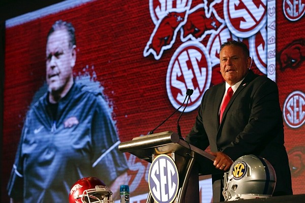 Arkansas head coach Sam Pittman speaks to reporters during the NCAA college football Southeastern Conference Media Days Thursday, July 22, 2021, in Hoover, Ala. (AP Photo/Butch Dill)