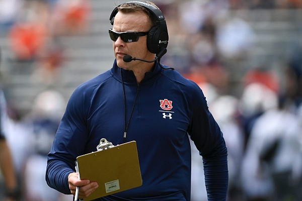 Auburn football coach Bryan Harsin watches the action during the A-Day spring NCAA college football game on Saturday, April 17, 2021, at Jordan-Hare Stadium in Auburn, Ala. (AP Photo/Julie Bennett)