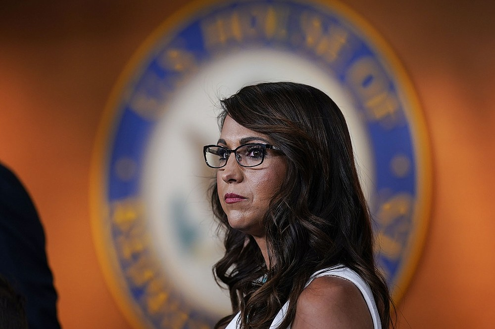 Rep. Lauren Boebert, R-Colo., pauses during a news conference to announce her resolution to censure President Joe Biden, claiming he is not enforcing border security and immigration laws, at the Capitol in Washington, Wednesday, June 23, 2021.  (AP Photo/J. Scott Applewhite)