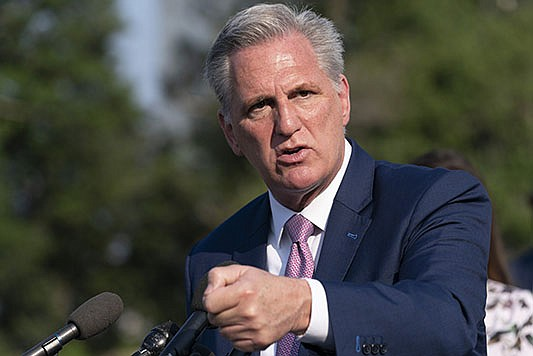 House Minority Leader Kevin McCarthy of Calif., speaks about the House select committee investigating the Jan. 6 attack on the U.S. Capitol, Tuesday, July 27, 2021, on Capitol Hill in Washington. (AP Photo/Jacquelyn Martin)