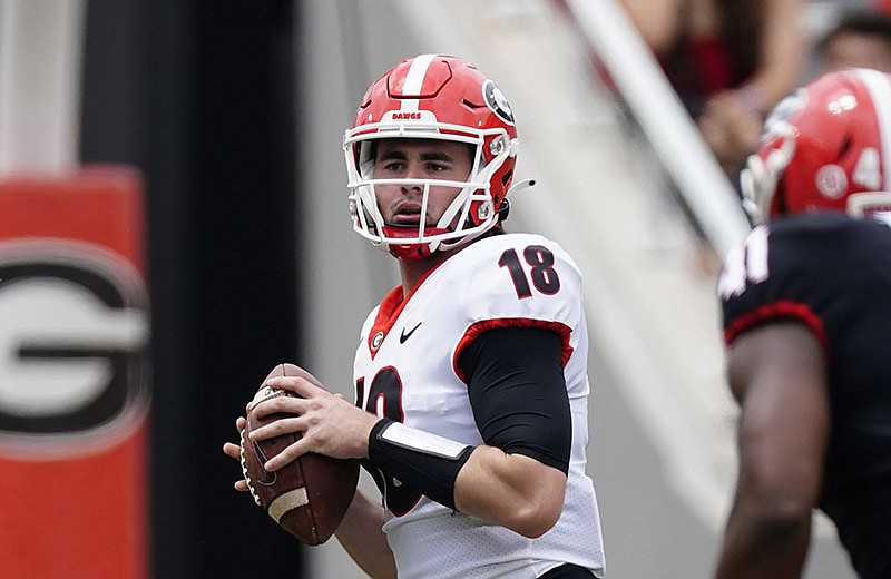 """JT Daniels returns at quarterback for Georgia in 2021. """"I'd say my biggest strength is understanding my role of being the primary distributor,"""" Daniels said. (AP/John Bazemore)"""