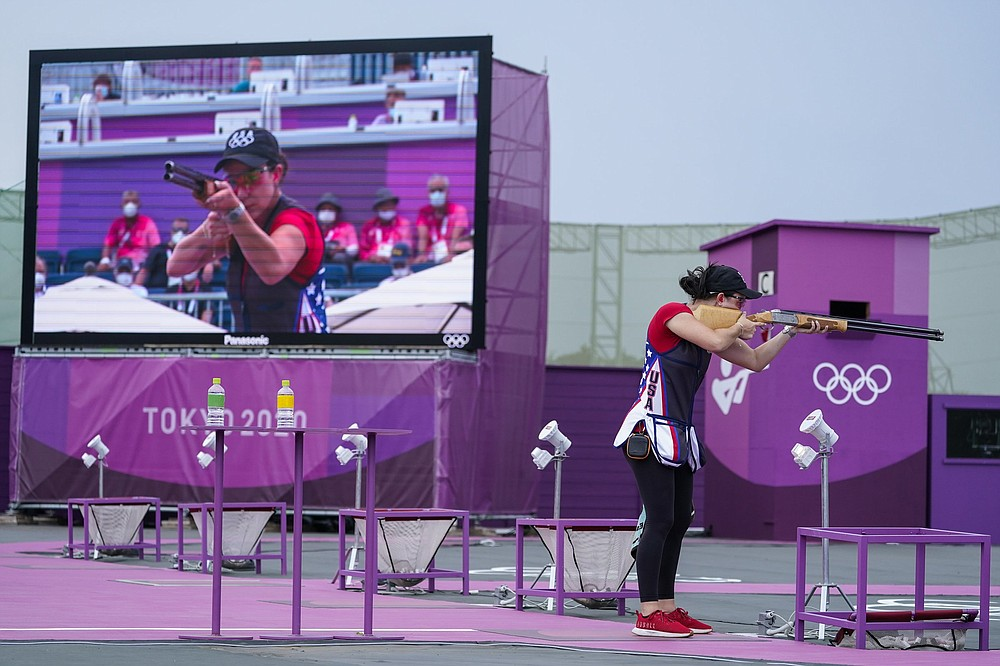 Greenbrier's Kayle Browning competes in the women's trap shooting event at the Asaka Shooting Range in Tokyo. Browning won the silver medal after hitting 42 of 50 targets in the final round. (AP/Alex Brandon)