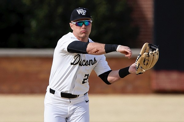 Wake Forest's Chris Lanzilli (24) makes a throw during an NCAA baseball game on Saturday, Feb. 15, 2020, in Winston-Salem, N.C. (AP Photo/Ben McKeown)