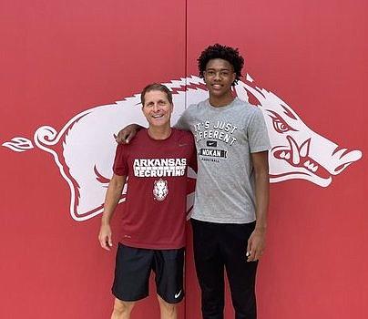Arkansas coach Eric Musselman and Bryson Warren