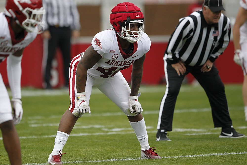 """Freshman Chris Paul Jr. said Arkansas' veteran linebackers have been quick to help him adjust. """"All those guys made it their priority to teach me the playbook, teach me the way we do things during the workouts, in practice,"""" he said. (University of Arkansas Athletics/Sam Smith)"""