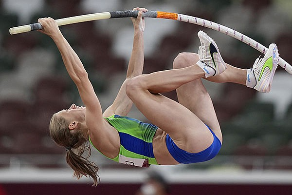 Tina Sutej, of Slovenia, competes in the final of the women's pole vault at the Summer Olympics, Thursday, Aug. 5, 2021, in Tokyo. (AP Photo/Matthias Schrader)