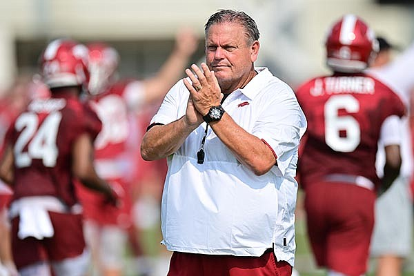 Arkansas coach Sam Pittman is shown during practice Friday, Aug. 6, 2021, in Fayetteville.