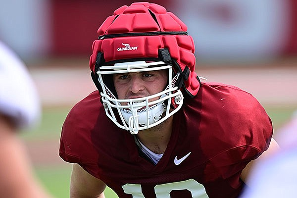 Arkansas linebacker Bumper Pool is shown during practice Monday, Aug. 9, 2021, in Fayetteville.