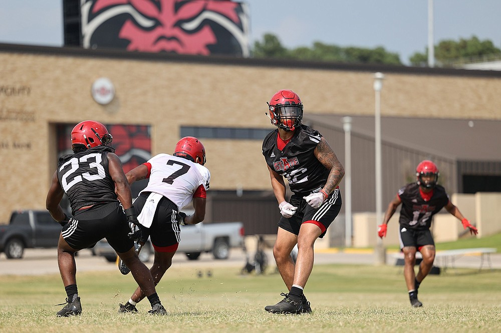 Senior linebacker Caleb Bonner (center) is in a leadership role for a Red Wolves defense that's intent on improving this season. Arkansas State will have its first scrimmage of fall camp today at Centennial Bank Stadium in Jonesboro. (Photo courtesy Arkansas State Athletics)