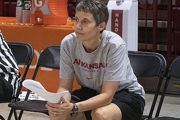 Arkansas women's basketball director of operations Amber Shirey is shown during a camp Monday, June 14, 2021, at Bud Walton Arena in Fayetteville.