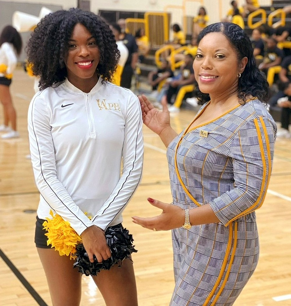 UAPB spirit squads Coach Karen Blunt (right) said her daughter CeAnna was the first student and team member at the school to be fully vaccinated.  (Special to The Commercial)