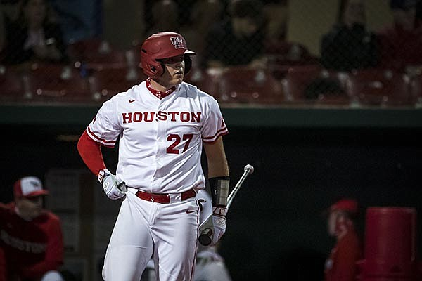 Houston catcher Leyton Pinckney (27) is shown during a game against Texas A&M on Tuesday, March 16, 2021, in Houston. (Photo by Joe Buvid, For Houston Athletics)