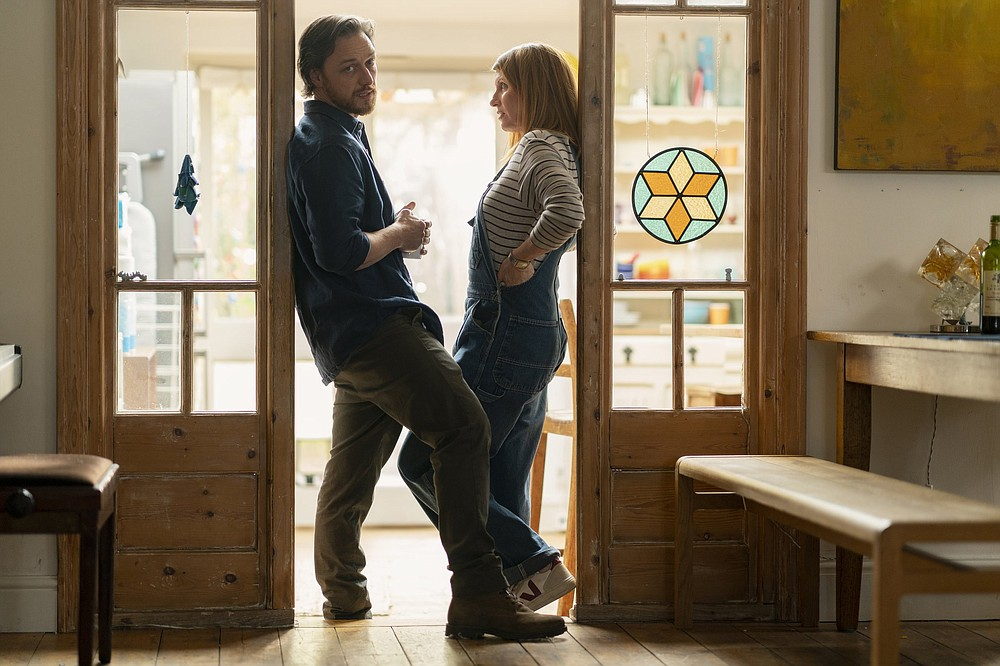 """An unhappily married couple (James McAvoy and Sharon Horgan) find themselves thrown together during the U.K.'s restrictive lockdown during the early days of the covid-19 pandemic in """"Together."""""""