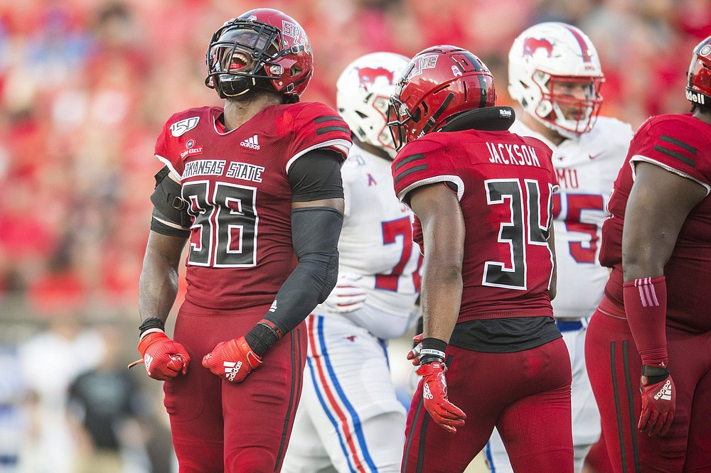 Arkansas State senior linebacker Jeffmario Brown (98) finished third on the team with 44 tackles last season. (Democrat-Gazette file photo)