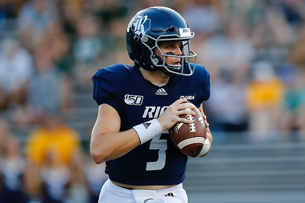 Rice University quarterback Wiley Green (5) looks to pass during an NCAA football game on Saturday, Sept. 21, 2019 in Houston. (AP Photo/Matt Patterson)