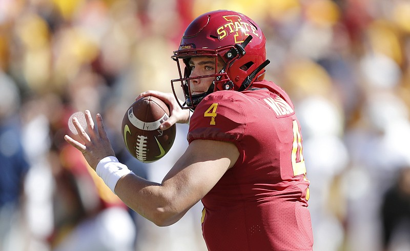 Iowa State quarterback Zeb Noland throws a pass during the first half of an NCAA college football game against Akron, Saturday, Sept. 22, 2018, in Ames, Iowa. (AP Photo/Charlie Neibergall)