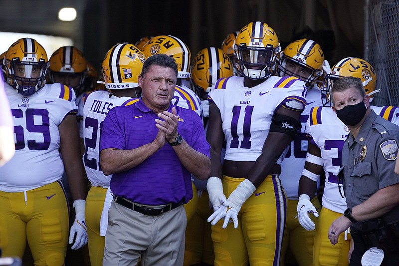 LSU head coach Ed Orgeron will lead the Tigers on Saturday against McNeese State, whose starting quarterback is his son, Cody Orgeron. (AP/Marcio Jose Sanchez)