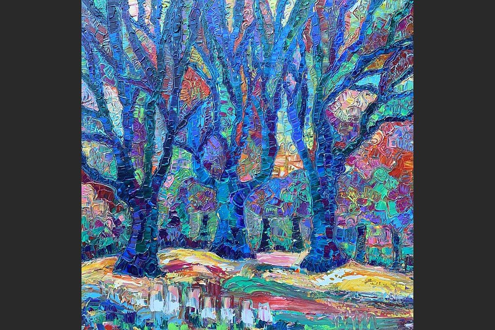 """""""Trees on the Rhine River,"""" an acrylic painting by artist Beth Hubbert, whose work is on display at the South Arkansas Art Center in El Dorado until Sept. 28. (Courtesy of the South Arkansas Art Center/Buth Hubbert)"""