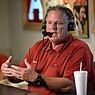 "Arkansas football coach Sam Pittman speaks Wednesday, Aug. 25, 2021, during Pittman's weekly talkshow ""Sam Pittman Live"" at Catfish Hole Restaurant in Fayetteville.  (NWA Democrat-Gazette/Andy Shupe)"