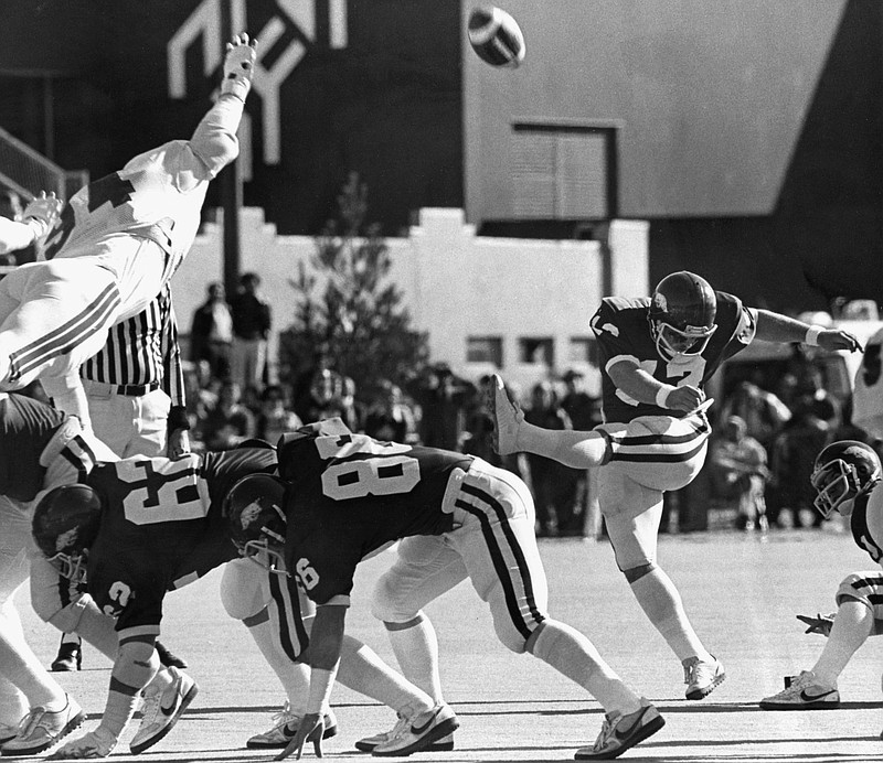 Bruce Lahay kicked field goals of 47 and 37 yards in Arkansas' 42-11 victory over Texas on Oct. 17, 1981. His 47-yarder early in the second quarter put Arkansas ahead 18-0. (Arkansas Democrat-Gazette file photo)