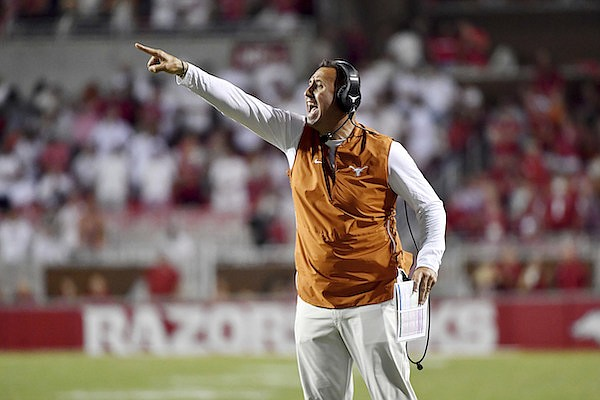 Texas coach Steve Sarkisian reacts after a call during the second half of the team's NCAA college football game against Arkansas on Saturday, Sept. 11, 2021, in Fayetteville. (AP Photo/Michael Woods)