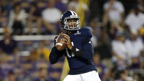 Georgia Southern quarterback Justin Tomlin (17) during an NCAA football game against LSU, Saturday, August 31, 2019, in Baton Rouge, La. (AP Photo/Tyler Kaufman)