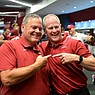 Arkansas football coach Sam Pittman (left) and athletics director Hunter Yurachek celebrate following a 40-21 victory over Texas on Saturday, Sept. 11, 2021, in Fayetteville.