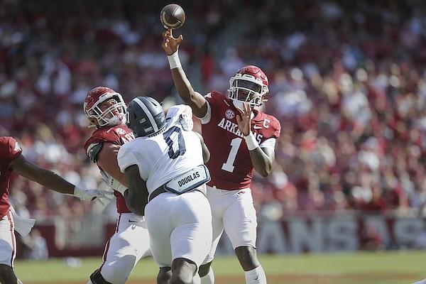 Arkansas quarterback KJ Jefferson (1) passes during a game against Georgia Southern on Saturday, Sept. 18, 2021, in Fayetteville.