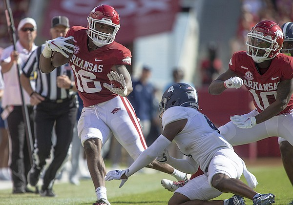 Arkansas receiver Treylon Burks (16) runs with the ball during a game against Georgia Southern on Saturday, Sept. 18, 2021, in Fayetteville.